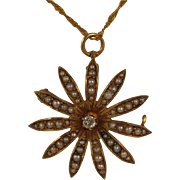 SALE Antique 14K Diamond & Seed Pearl Flower Pendant + 22K Necklace
