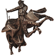 1940s Mexican Sterling Silver Bull Fighter Brooch