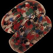 Vintage Confetti Clamper Bracelet Red White Blue