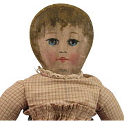 """SOLD c.1900 Home Made 17"""" Painted Cloth Rag Doll"""