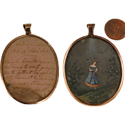 SALE PENDING c.1840 French Painted Miniature of Lady in 9K Pendant