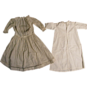 "SALE c.1900 White Cotton Doll Dress + Nightgown for 28"" Doll"