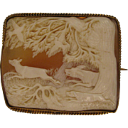 SALE Dogs Chasing Deer Scenic Victorian Shell Cameo Brooch