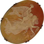 SALE Antique Sterling Cameo Brooch of Angel Carrying Child after Thorvaldsen's Day
