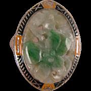 SALE PENDING Edwardian Carved Jade Ring in Sterling Filigree Size 7