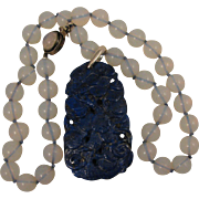 SALE Early 1900s Chinese Export Carved Cranes & Ginko Lapis Pendant on Faux Moonstone Necklace