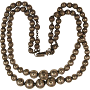 1940s Mexican Sterling Silver Double Strand Beaded Necklace