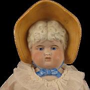circa 1900 German Bisque Bonnet Head Doll 17 inch
