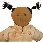 """SOLD Early 1900s Chinese Cloth Mission Doll 13"""""""