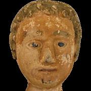 "SALE Antique Carved Wood Folk Art Seated Doll 20"""