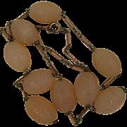 SALE Art Deco Pink Opal Glass Bead Necklace w/ Enameled Chain
