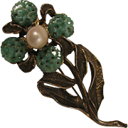 Vintage H. O. B. Flower Brooch w/ Cultured Pearl