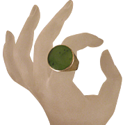 Nephrite Jade Sterling Silver Arts and Crafts Ring Size 8 3/4