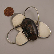 SALE Vintage Mod Sterling Silver Big Atomic Abstract Agate Brooch