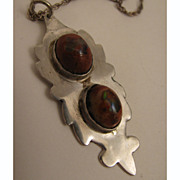 SALE 1970s Vintage Sterling Silver Double Boulder Opal Pendant Necklace
