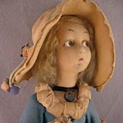 """SALE 1923 Lenci 24"""" Lady in Turquoise Felt Dress & Large Bonnet"""