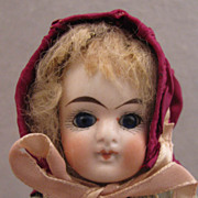 "SALE 1880s German Goebel 9"" Bisque Doll w/ Factory Original Clothing"