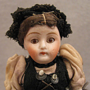 "SALE 4"" All Original All Bisque Doll in Swiss Regional Costume"