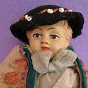 "SALE 4.4"" Hungarian Celluloid Doll w/ Amazing Original Felt Costume"