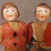 "SALE All Original 3.25"" Doll House 1920s-40s Pair All Bisque Dolls"