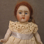"SALE 4"" German All Bisque Doll in Eyelet Dress"