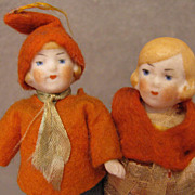 "SALE All Original c.1920s-40s Pair of 3.25"" All Bisque Doll House Dolls"