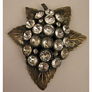SALE Large Vintage Rhinestone Leaf Dress Clip