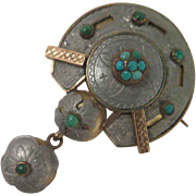 Victorian Aluminum Turquoise Pendant Brooch