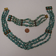 SALE c.1900 Chinese Export 3 Strand Turquoise Nugget Necklace & Bracelet Set