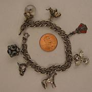 SALE Vintage Sterling Silver Charm Bracelet + 7 Charms