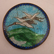 SALE Antique Japanese Cranes Cloisonne & Guilloché Enameled Brooch