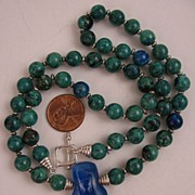 "SALE 21"" Chrysocolla Beaded Necklace w/Dichroic Glass Pendant & Sterling Silver Clasp"