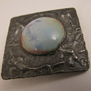 SALE c.1900 Arts & Crafts Pewter Brooch w/ Pottery Stone a la Ruskin