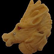 SALE Antique Carved Staghorn Antler Deer & Dog Brooch