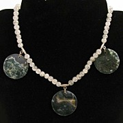 "SALE 16.5"" Rutilated Quartz w/ Moss Agate Coins Necklace"