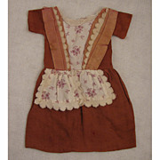 "SALE Antique Commercially Made Brick Color Cotton Dress for 16"" Antique Doll"