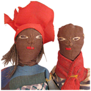 SALE Vintage Pair of Ethnic Black Folk Art Cloth Dolls 8""