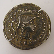 SALE Early 1900s 800 Silver Roman Coin Style Brooch