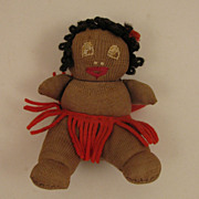 "c.1930s Black 4"" Sock Cloth Josephine Baker Baby Doll"