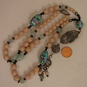SALE Vintage Long Chinese Stone & Porcelain Bead SP Necklace