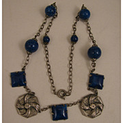 "SALE 1920s Vintage Silver Plate Czech Glass Faux Lapis 16.5"" Necklace"