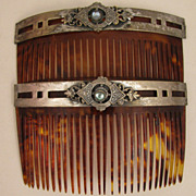 SOLD Pair c.1900 Faux Tortoise Shell Set of Hair Combs - Red Tag Sale Item