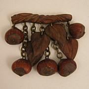 SALE Vintage Carved Wood & Hazel Nut Dangling Brooch