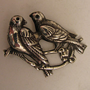 SALE Antique Sterling Silver Love Birds Brooch