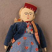 "SALE 12"" Mid 20th c. Vintage Hand Made Turkomen Girl Cloth Doll"