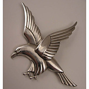SALE 1940s Vintage Coro Norseland Sterling Silver Hawk Bird Brooch
