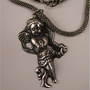SALE c.1940s Sterling Silver Cupid Pendant Necklace