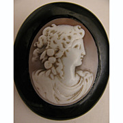 SALE Victorian Carved Shell Cameo Goddess Flora in Whitby Jet Mourning Brooch