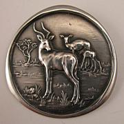 SALE Vintage African Antelope Impala Deer Buck Sterling Silver Brooch