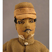 "SOLD Doll House Size 6"" Antique Cloth Soldier Doll in Tan Uniform"